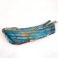 Large copper dinghy by Justine Hawksworth