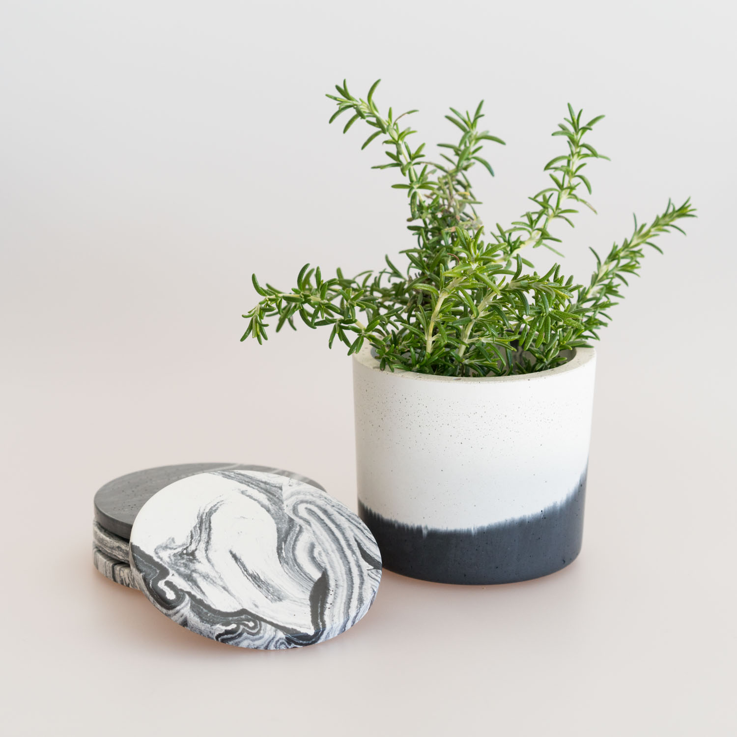 Concrete planter and coasters by FUME